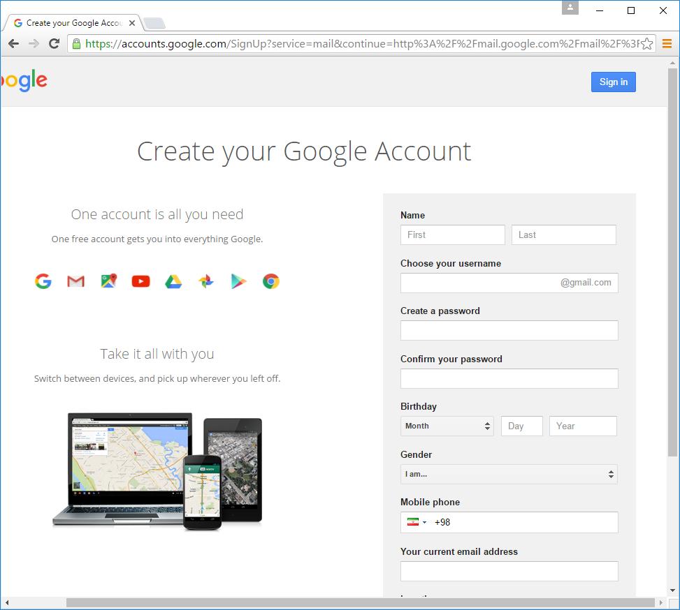 ساخت حساب کاربری گوگل
